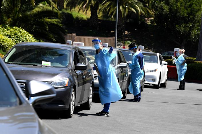 COVID-19 testing being administered in Culver City, Calif. (Kevin Winter/Getty Images)