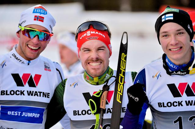 Nordic Combined - FIS Nordic Combined World Cup - Men's Gundersen LH HS140/10.0 K - Granaasen, Trondheim, Norway, March 14, 2018 - (L-R) second Jarl Magnus Riiber of Norway, winner Fabian Riessle of Germany and third Eero Hirvonen of Finland pose after the race. NTB Scanpix/Ned Alley via Reuters ATTENTION EDITORS - THIS IMAGE HAS BEEN SUPPLIED BY A THIRD PARTY. NORWAY OUT. NO COMMERCIAL OR EDITORIAL SALES IN NORWAY.