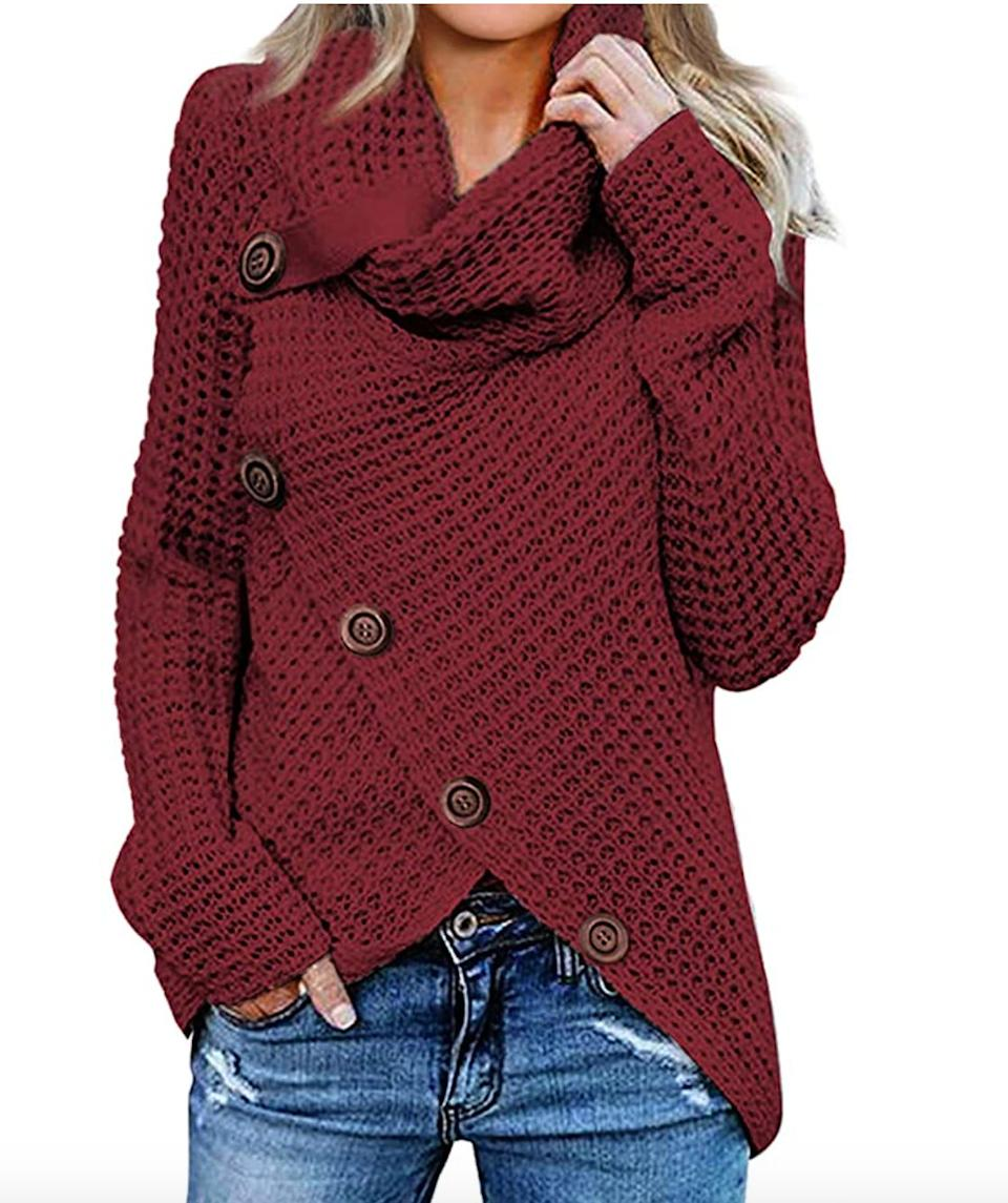 "<a href=""https://amzn.to/3kLK4PO'"" target=""_blank"" rel=""noopener noreferrer"">This cowl neck sweater</a> is available in sizes S to XXL in 18 colors. Find it for $36 on <a href=""https://amzn.to/3kLK4PO"" target=""_blank"" rel=""noopener noreferrer"">Amazon</a>."
