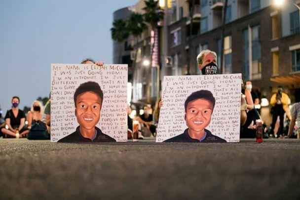 PHOTO: People gather at a candlelight vigil to demand justice for Elijah McClain on the one year anniversary of his death at The Laugh Factory on Aug. 24, 2020 in West Hollywood, Calif. (Rich Fury/Getty Images, FILE)