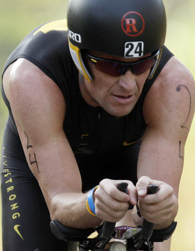 "FILE - In this Feb. 12, 2012, file photo, Lance Armstrong competes in the Ironman Panama 70.3. triathlon in Panama City, Panama. The U.S. Anti-Doping Agency is bringing doping charges against the seven-time Tour de France winner, questioning how he achieved those famous cycling victories. Armstrong, who retired from cycling last year, could face a lifetime ban from the sport if he is found to have used performance-enhancing drugs. He maintained his innocence, saying: ""I have never doped."" (AP Photo/Arnulfo Franco, File)"