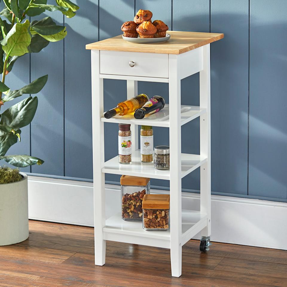 "<h3><a href=""https://www.walmart.com/ip/Mainstays-Kitchen-Island-Cart-with-Drop-Leaf-Top-White-Finish/834014836"" rel=""nofollow noopener"" target=""_blank"" data-ylk=""slk:Mainstays Kitchen Island Cart"" class=""link rapid-noclick-resp"">Mainstays Kitchen Island Cart</a></h3><br><strong>When you don't have a ""real"" kitchen</strong>: Tiny apartments usually don't come complete with separate kitchen spaces — or any kitchen space at all — which is where a multi-storage-capable cart with a compact rolling frame comes in handy.<br><br><strong>Mainstays</strong> Kitchen Island Cart with Drop Leaf Top, $, available at <a href=""https://go.skimresources.com/?id=30283X879131&url=https%3A%2F%2Fwww.walmart.com%2Fip%2FMainstays-Kitchen-Island-Cart-with-Drop-Leaf-Top-White-Finish%2F834014836"" rel=""nofollow noopener"" target=""_blank"" data-ylk=""slk:Walmart"" class=""link rapid-noclick-resp"">Walmart</a>"
