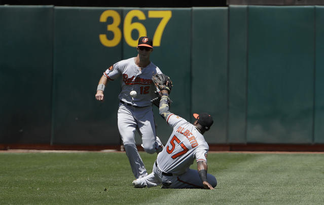 A double hit by Oakland Athletics' Matt Chapman falls between Baltimore Orioles shortstop Hanser Alberto (57) and left fielder Stevie Wilkerson during the fifth inning of a baseball game in Oakland, Calif., Wednesday, June 19, 2019. (AP Photo/Jeff Chiu)