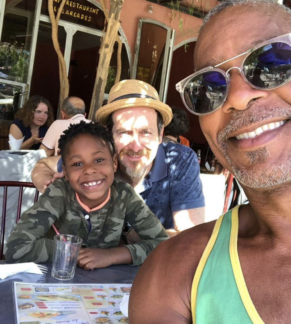 <p>Denis O'Hare, the actor best known for his work in Murphy's <em>American Horror Story</em>, with his son Declan and husband Hugo Redwood on vacation in Morocco. </p>