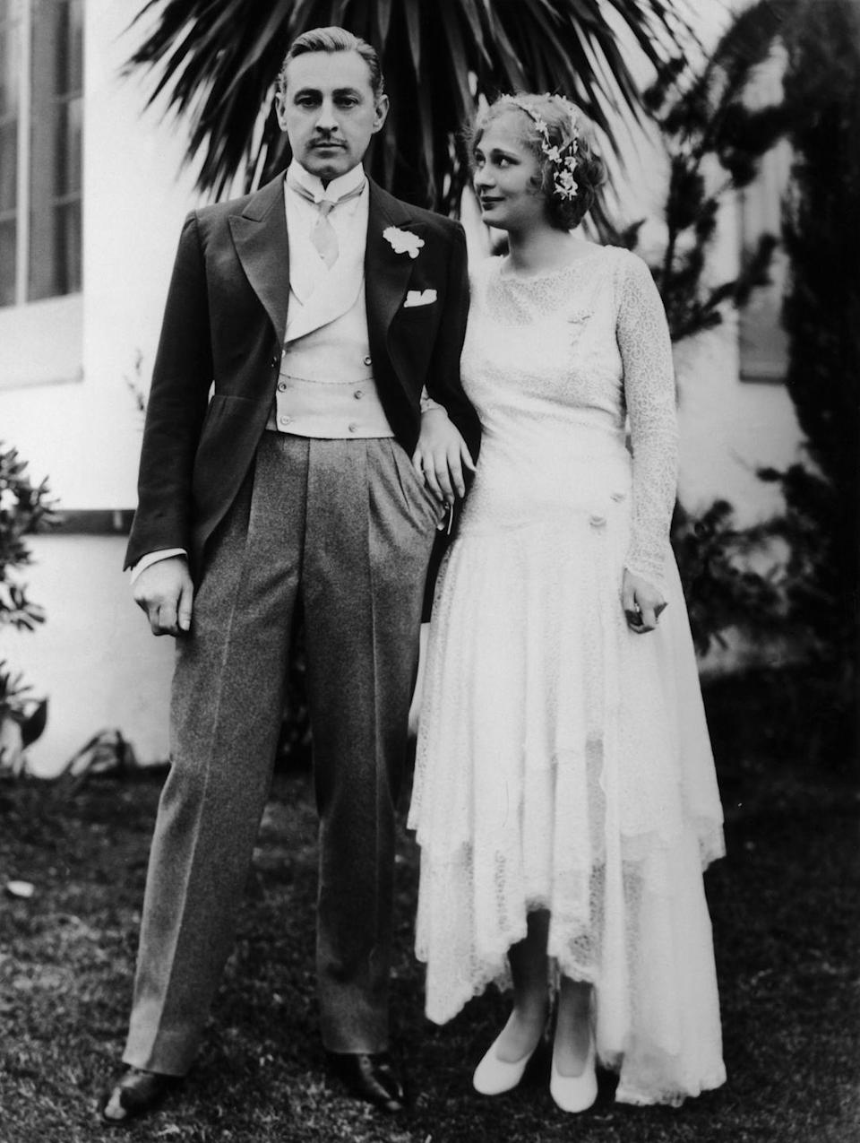 """<p>Drew Barrymore comes from a long line of Hollywood stars and this is her grandfather, acclaimed actor John Barrymore, with her grandmother, his third wife Dolores Costello, in 1928. Some of Barrymore's most well-known films include <em>Grand Hotel</em> (1932), <em>Twentieth Century</em> (1934) and <em>Midnight</em> (1939), which have been inducted into the <a href=""""https://www.loc.gov/programs/national-film-preservation-board/film-registry/complete-national-film-registry-listing/"""" rel=""""nofollow noopener"""" target=""""_blank"""" data-ylk=""""slk:National Film Registry"""" class=""""link rapid-noclick-resp"""">National Film Registry</a>. Dolores was a well-known silent film actress in her own right when the two were married; she was his co-star in <em>The Sea Beast</em>. </p><p>According to <a href=""""https://www.nytimes.com/1979/03/03/archives/dolores-costello-73-film-star-wife-of-barrymore-educated-by-tutor.html"""" rel=""""nofollow noopener"""" target=""""_blank"""" data-ylk=""""slk:her New York Times obituary"""" class=""""link rapid-noclick-resp"""">her <em>New York Times</em> obituary</a>, Barrymore said of Costello: """"I have just seen the most beautiful woman in the world. I shall not rest or eat until I have seen her again."""" The two spent their honeymoon on his yacht, visiting Panama, the Galapagos Islands and Ecuador. They hunted alligators and mammoth lizards and explored wild regions of Central America before returning to Hollywood and moving into a hilltop mansion in Beverly Hills.</p>"""