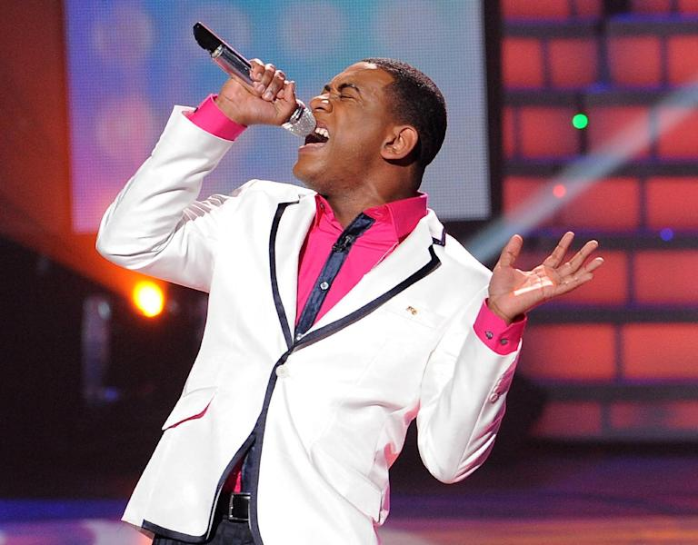 """In this April 11, 2012 photo released by Fox, Joshua Ledet performs on the singing competition series """"American Idol,"""" in Los Angeles. (AP Photo/Fox, Michael Becker)"""
