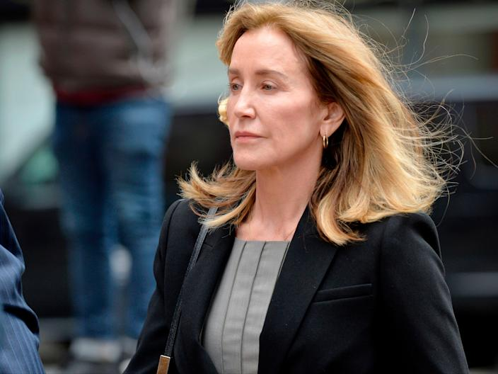 Felicity Huffman arrives at a court hearing in Boston, Massachusetts, on 13 May 2019 (JOSEPH PREZIOSO/AFP via Getty Images)