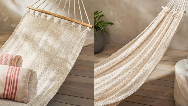 This hammock is available with or without spreader bars.