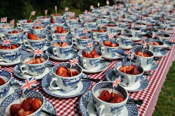 """<p>Use teacups and saucers to serve the strawberries and cream for brilliantly British vibes. <i><a href=""""https://uk.pinterest.com/pin/79727855873577296/"""" rel=""""nofollow noopener"""" target=""""_blank"""" data-ylk=""""slk:[Photo: Pinterest]"""" class=""""link rapid-noclick-resp""""> [Photo: Pinterest] </a></i><br></p>"""
