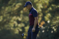 Jordan Spieth walks down the ninth fairway during the first round of the Masters golf tournament Thursday, Nov. 12, 2020, in Augusta, Ga. (AP Photo/Charlie Riedel)