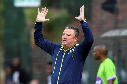Bidvest Wits coach Gavin Hunt shows his unhappiness with a decision during a South African Premiership match