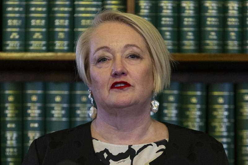 Liberal MP Louise Staley speaks to media in response to the Victorian budget hand down from Treasurer Tim pallas, at Parliament House in Melbourne.