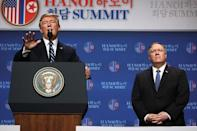 U.S. President Donald Trump holds a news conference next to Secretary of State Mike Pompeo after his summit with North Korean leader Kim Jong Un at the JW Marriott hotel in Hanoi, Vietnam, February 28, 2019. REUTERS/Leah Millis