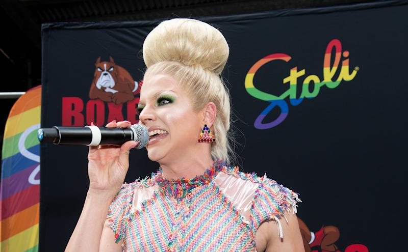 Courtney Act celebrates Pride and the announcement of LGBTQ+ Virgin Voyages Charter with Atlantis Events on June 29, 2019. (Photo by Noam Galai/Getty Images for Virgin Voyages)