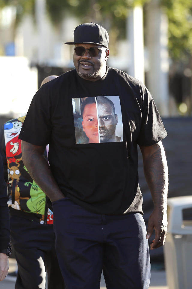 Former basketball player Shaquille O'Neal arrives at Super Bowl LIV at Hard Rock Stadium on February 02, 2020 in Miami, Florida. (Photo by Michael Reaves/Getty Images)