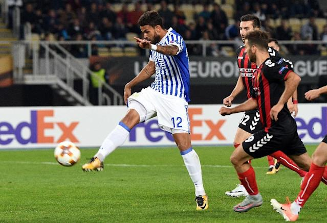 Willian Jose's good form for Real Sociedad has earned him a Brazil call up (AFP Photo/Robert ATANASOVSKI)