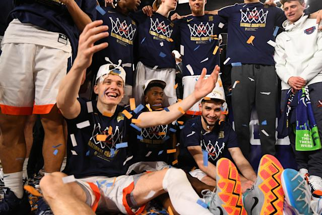 Kyle Guy #5 of the Virginia Cavaliers celebrates after defeating the Texas Tech Red Raiders in the 2019 NCAA men's Final Four National Championship game at U.S. Bank Stadium on April 08, 2019 in Minneapolis, Minnesota. (Photo by Jamie Schwaberow/NCAA Photos via Getty Images)