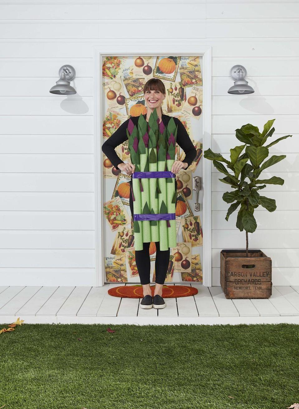 """<p>Serve up a little of your favorite vegetable in costume form! <strong><br></strong></p><p><strong>Make the Costume:</strong> Gather five lime green pool noodles. Cut leaves from purple and green felt (see template); you will need 10 to 12 for each stalk. Adhere to noodles, concentrating them at the top, with spray adhesive. Bundle pool noodles with purple duct tape. Tape a pair of suspenders to the back of the noodles and drape over shoulders.</p><p><a class=""""link rapid-noclick-resp"""" href=""""https://www.amazon.com/Oodles-Noodles-Deluxe-Foam-Pool/dp/B0787CFRDM/ref=sr_1_1_sspa?tag=syn-yahoo-20&ascsubtag=%5Bartid%7C10050.g.4571%5Bsrc%7Cyahoo-us"""" rel=""""nofollow noopener"""" target=""""_blank"""" data-ylk=""""slk:SHOP POOL NOODLES"""">SHOP POOL NOODLES</a></p>"""