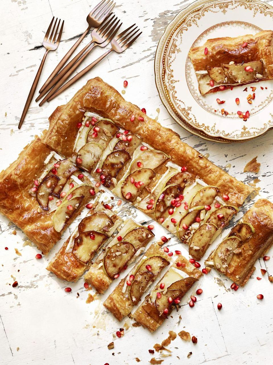 """<p>If you're all about looking fancy with zero effort, this sweet and savory tart is for you.</p><p><em><a href=""""https://www.goodhousekeeping.com/food-recipes/a41395/best-brie-apple-tart/"""" rel=""""nofollow noopener"""" target=""""_blank"""" data-ylk=""""slk:Get the recipe for Brie and Apple Tart »"""" class=""""link rapid-noclick-resp"""">Get the recipe for Brie and Apple Tart » </a></em></p>"""