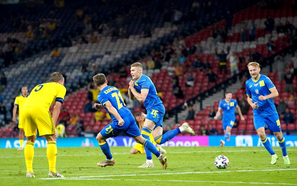 Ukraine's Artem Dovbyk celebrates scoring their side's second goal of the game during the UEFA Euro 2020 round of 16 match at Hampden Park, Glasgow. Picture date: Tuesday June 29, 2021. (Photo by Jane Barlow/PA Images via Getty Images)