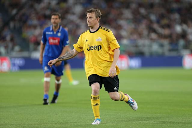 Raikkonen during a charity football match (Photo by Marco Canoniero/LightRocket via Getty Images)