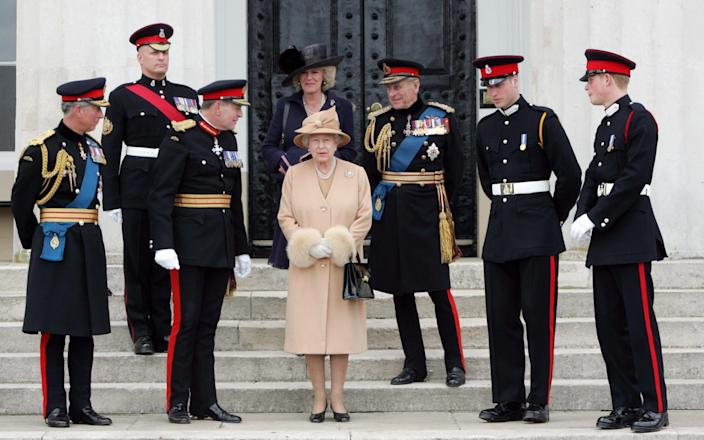 Members of the Royal family in military dress at the Sovereigns Parade, Sandhurst - IJO