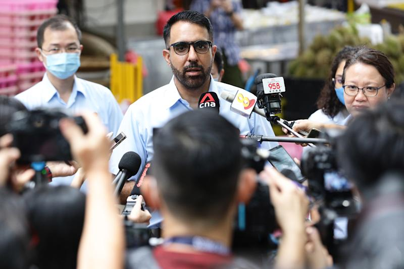 SINGAPORE - JULY 07: Workers' Party Secretary-General, Pritam Singh speaks to reporters during a campaign walkabout ahead of the general election on July 7, 2020 in Singapore. Singapore will go to the polls on July 10 as the ruling party, People's Action Party seeks a fresh mandate amid the coronavirus (COVID-19) pandemic. As of July 6, the total number of COVID-19 cases in the country stands at 44,983. (Photo by Suhaimi Abdullah/Getty Images)