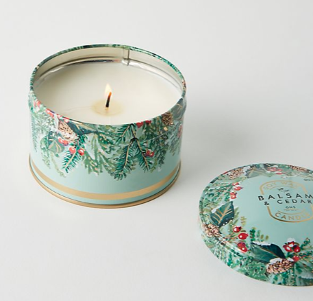 Anthropology: Good Natured Soy Holiday Tin Candle. $22.00