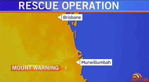 Emergency services were called to top of Mt Warning at 4:50am on Tuesday. Image: Sunrise