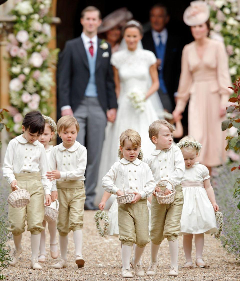 <p>As the youngest—and arguably, cutest—members of the clan, royal children are generally tasked with performing the duties of page boy or flower girl at royal weddings. Prince George and Princess Charlotte stole the show as members of both Prince Harry and Meghan Markle's wedding, as well as Princess Eugenie and Jack Brooksbank's wedding.</p>