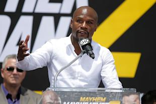 Mayweather promotes his upcoming fight. (Getty)