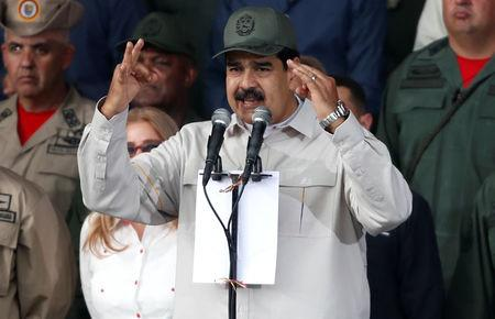 Venezuela's President Nicolas Maduro speaks during a ceremony to mark the 17th anniversary of the return to power of Venezuela's late President Hugo Chavez after a coup attempt and the National Militia Day in Caracas, Venezuela April 13, 2019. REUTERS/Carlos Garcia Rawlins