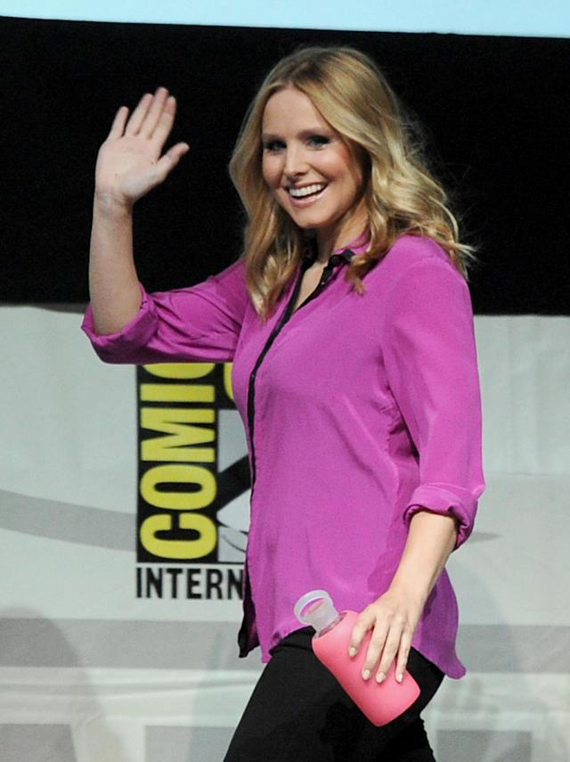 "SAN DIEGO, CA - JULY 19: Actress Kristen Bell speaks onstage at the ""Veronica Mars"" special video presentation and Q&A during Comic-Con International 2013 at San Diego Convention Center on July 19, 2013 in San Diego, California. (Photo by Kevin Winter/Getty Images)"