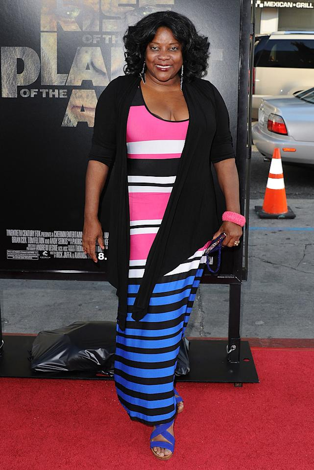"""<a href=""""http://movies.yahoo.com/movie/contributor/1800018885"""">Loretta Devine</a> at the Los Angeles premiere of <a href=""""http://movies.yahoo.com/movie/1810204226/info"""">Rise of the Planet of the Apes</a> on July 28, 2011."""