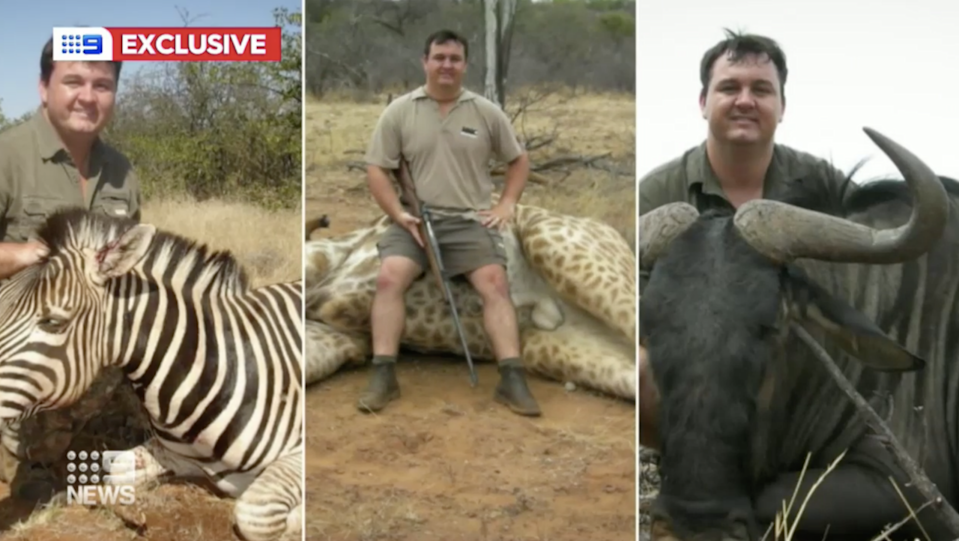 Jewell Crossberg poses with the carcasses of a zebra, a giraffe and a wildebeest. In one photo he holds a gun.