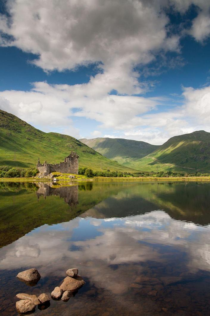 <p>This Scottish castle was built in the mid-1400s and housed some of the most powerful people in the country. However, it was abandoned in the 1700s, and is now one of the most photographed castles, because of it's (obviously) striking location.</p>
