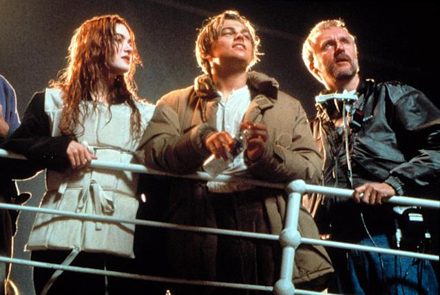 Kate Winslet, Leonardo DiCaprio. and James Cameron on the set of <em>Titanic</em>. (Photo: 20th Century Fox Film Corp)
