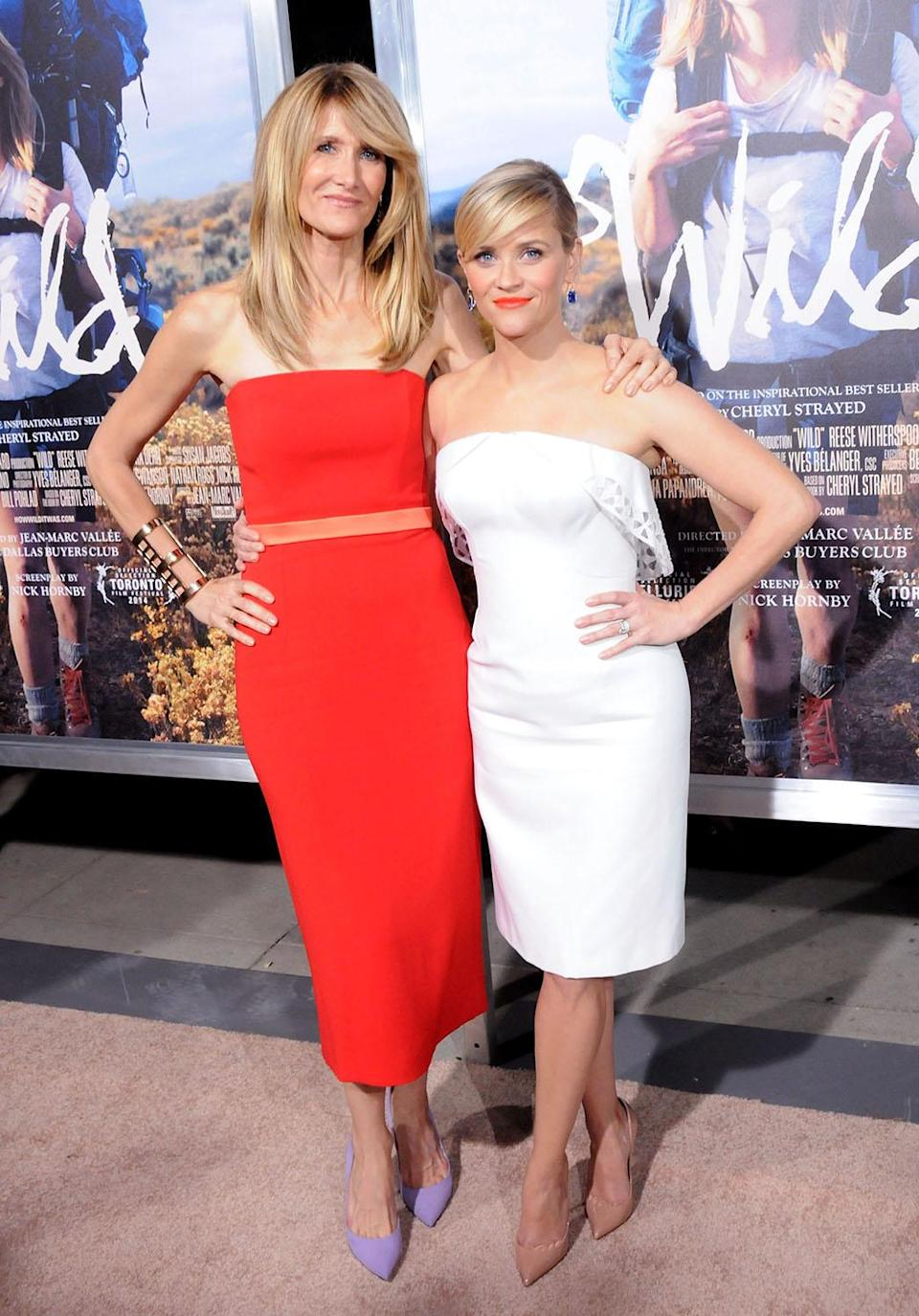 "<p>Friends and co-stars Laura and Reese played mother and daughter — although they are only nine years apart — for the big-screen adaptation of Cheryl Strayed's book. The two reunited on the red carpet at the Los Angeles premiere and explained to the <em>New York Times</em> that each being cast in an Alexander Payne film made them destined for friendship. ""People who work with Alexander feel connected,"" Reese said.<br>(Photo: Getty Images) </p>"