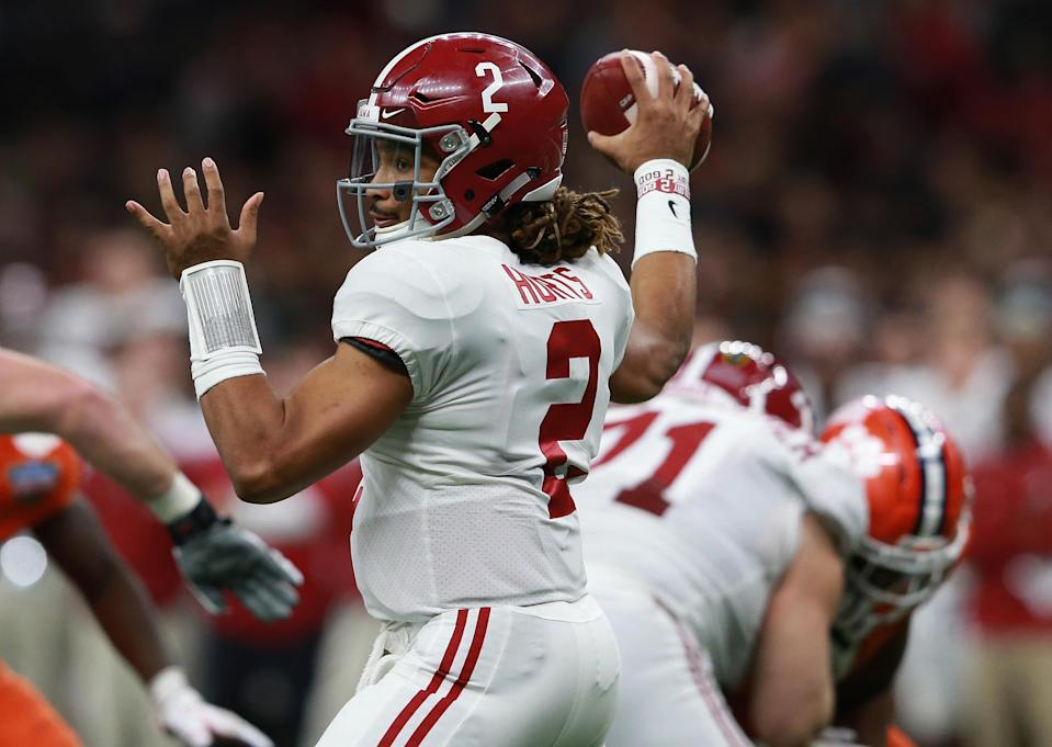 Jalen Hurts' effectiveness in the pocket will be a key factor in the College Football Playoff National Championship. (Getty)