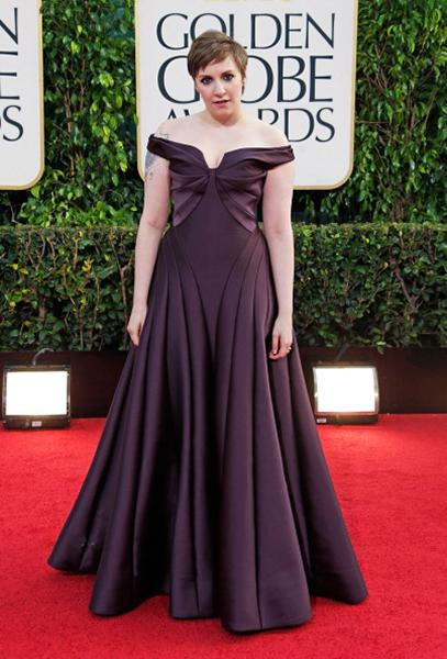 "<div class=""caption-credit""> Photo by: Getty Images</div><div class=""caption-title""></div><b>WORST: Lena Dunham</b> <br> Oh, Lena, we love you, and we're glad you won multiple awards, but your Zac Posen dress was all wrong. We expected something fun and youthful, and instead we got this. The purple shade looked brown on TV, the off-the-shoulder style was too old, and the silhouette was unflattering. <br>"