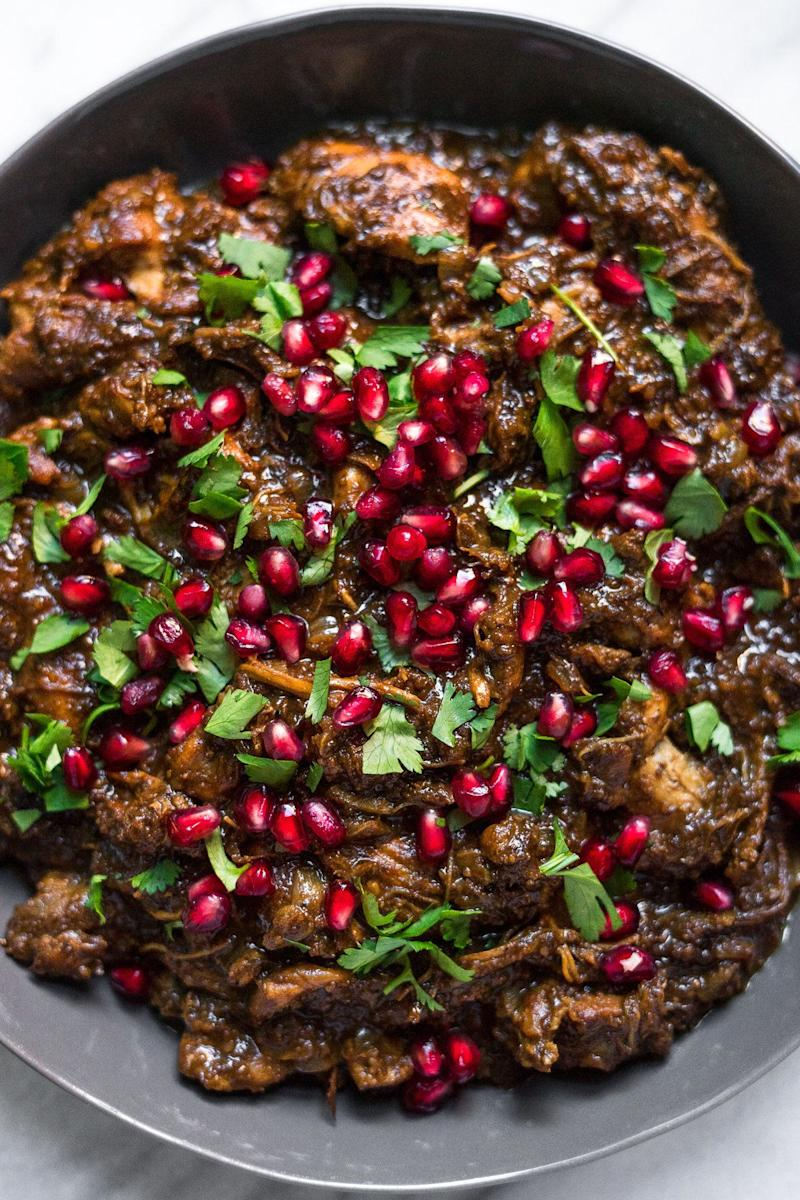 "<strong>Get the <a href=""http://acalculatedwhisk.com/instant-pot-fesenjan/"" target=""_blank"" rel=""noopener noreferrer"">Instant Pot Fesenjan (Persian Pomegranate Chicken)</a> recipe from A Calculated Whisk.</strong>"