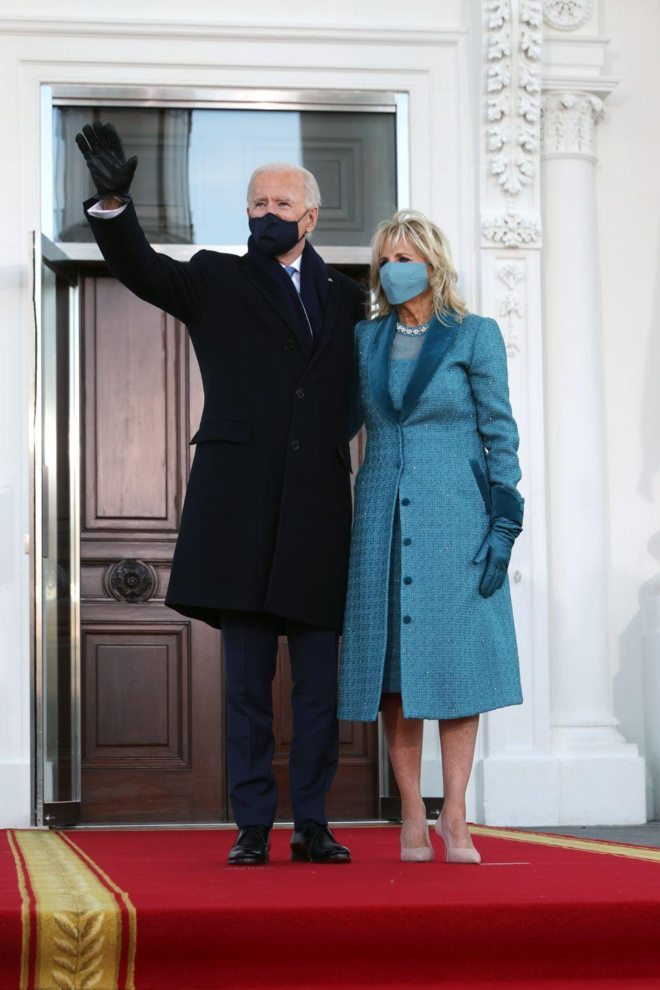 """<p>The First Lady chose a dress and matching coat in teal bluein wool tweed—a twist on the color of the Democratic Party—designed by New York City's Alexandra O'Neill of <a href=""""https://markarian-nyc.com"""" rel=""""nofollow noopener"""" target=""""_blank"""" data-ylk=""""slk:Markarian"""" class=""""link rapid-noclick-resp"""">Markarian</a>. The house, which is more of a newcomer to the fashion scene, is known for its feminine party-wear (Dr. Biden's choice was trimmed with velvet, chiffon, crystals, and pearls). It is tradition for the First Lady to support American designers during inauguration events, and this kind of exposure for a young brand and its designer is a welcome choice during a year of economic hardships for many industries. </p><p>The First Lady also wore white diamond pavé earrings set in recycled platinum for the festivities. The earrings, which are designed by <a href=""""https://www.moniquepean.com"""" rel=""""nofollow noopener"""" target=""""_blank"""" data-ylk=""""slk:Monique Péan"""" class=""""link rapid-noclick-resp"""">Monique Péan</a> and crafted by master artisans in New York City, are a nod to sustainability. </p>"""