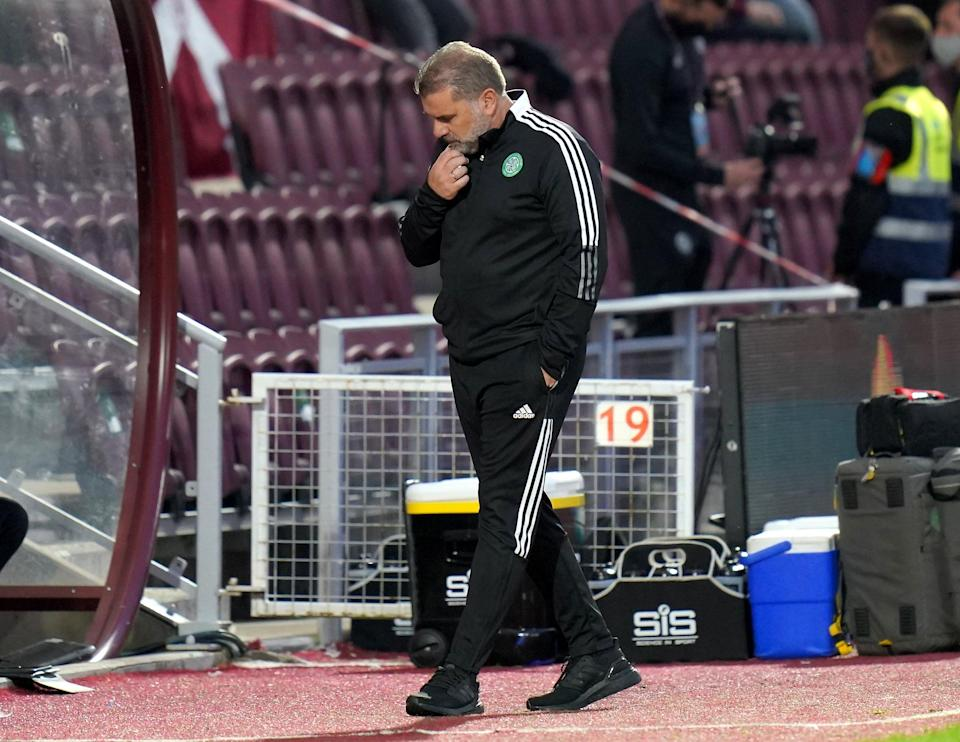 Celtic manager Ange Postecoglou looks frustrated after falling to a 2-1 defeat to Hearts in their cinch Premiership opener (Jane Barlow/PA) (PA Wire)