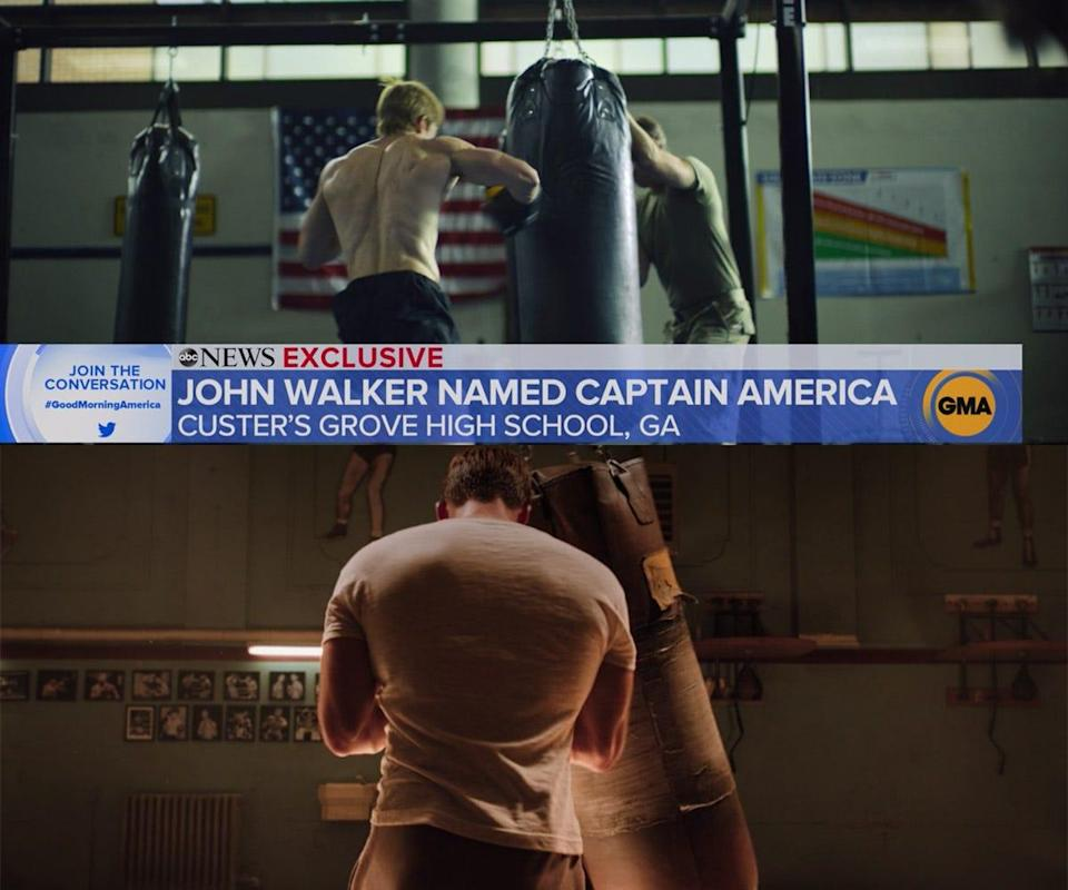 the falcon and the winter soldier 102 detail john walker steve rogers punching bag