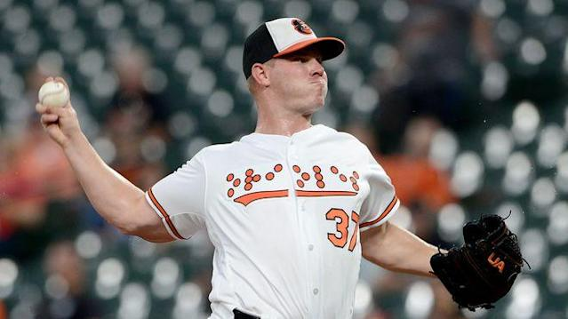 BALTIMORE, MD - SEPTEMBER 18: Dylan Bundy #37 of the Baltimore Orioles pitches in the first inning against the Toronto Blue Jays at Oriole Park at Camden Yards on September 18, 2018 in Baltimore, Maryland. (Photo by Greg Fiume/Getty Images)
