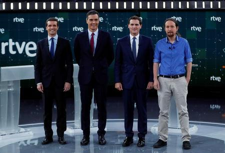 Main candidates for Spanish general elections People's Party (PP) Pablo Casado, Spanish Prime Minister and Socialist Workers' Party (PSOE) Pedro Sanchez, Ciudadanos' Albert Rivera and Unidas Podemos' Pablo Iglesias pose before a televised debate ahead of general elections in Pozuelo de Alarcon, outside Madrid, Spain, April 22, 2019. REUTERS/Sergio Perez