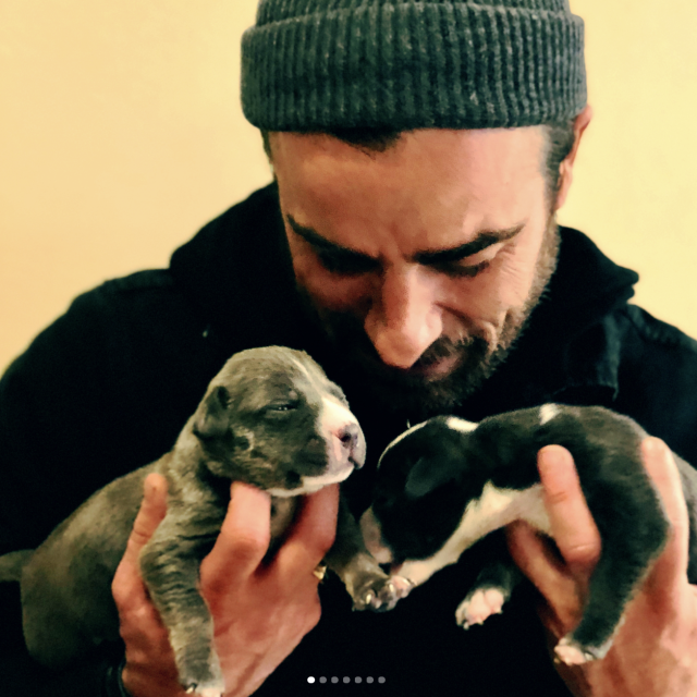 "<p>Breaking his social media silence after announcing his split with wife Jennifer Aniston, <em>The Leftovers</em> actor is finding comfort in the best way possible — with puppies! ""Texas!! Another very inspiring visit with the incredible people and pups @austinpetsalive,"" Theroux captioned this shot, cuddling a pair of fur babies. ""I cannot understand how they do what they do, day after day, so consistently and lovingly to save so many dogs and cats. I HIGHLY recommend going in and getting your nose bit by a toothless baby pitbull. Thes two aren't yet ready to go, but when they are go get em…"" (Photo: <a href=""https://www.instagram.com/p/BfpNWYTlIDR/?taken-by=justintheroux"" rel=""nofollow noopener"" target=""_blank"" data-ylk=""slk:Justin Theroux via Instagram"" class=""link rapid-noclick-resp"">Justin Theroux via Instagram</a>) </p>"
