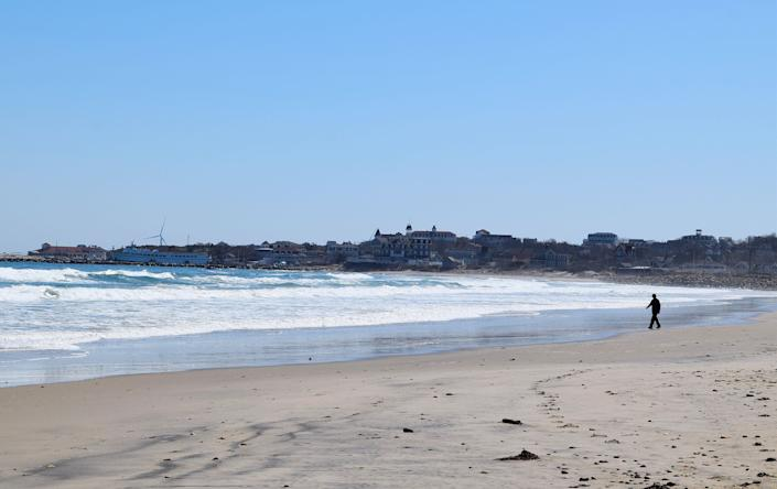 An empty Crescent Beach on Block Island on March 26. (Photo: Kari Curtis for HuffPost)