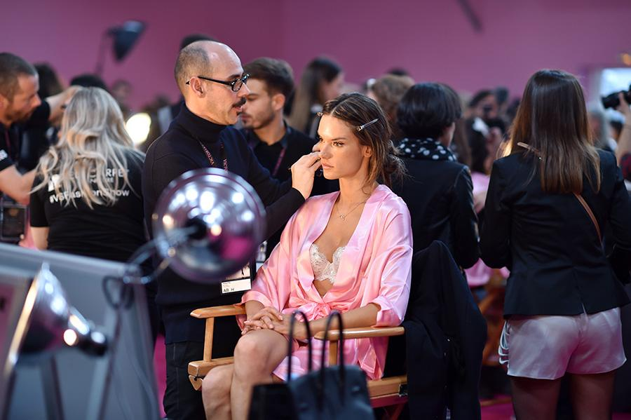 <p>Veteran Victoria's Secret Angel Alessandra Ambrosio looked cool, calm, and collected as she sat in the makeup chair. <em>(Photo: Getty Images)</em> </p>