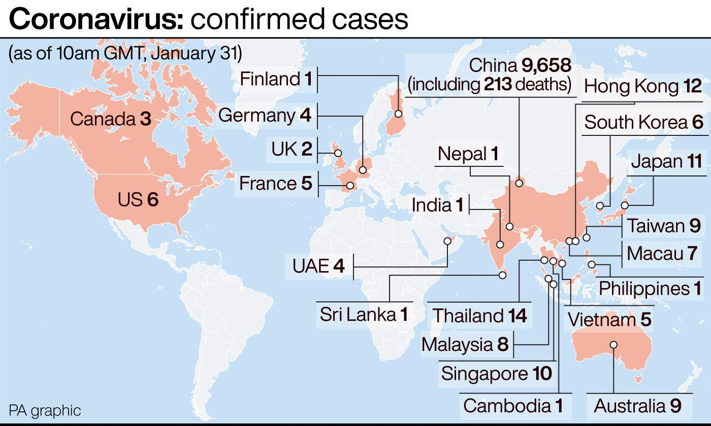 Confirmed cases of coronavirus. (PA Graphics)